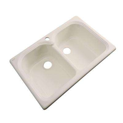 Hartford Drop-In Acrylic 33 in. 1-Hole Double Bowl Kitchen Sink in Candle Lyte
