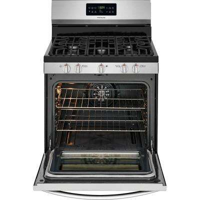 30 in. 5.0 cu. ft. Gas Range with Self-Cleaning QuickBake Convection in Stainless Steel