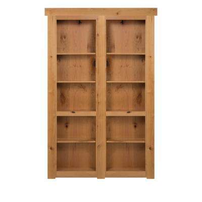 60 in. x 80 in. Flush Mount Assembled Alder Natural Stained Out-Swing Solid Core Interior French Bookcase Door