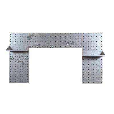 3/8 in. (3) 18-Gauge Steel Square Hole Pegboard Silver Laundry Room Organizer Kit