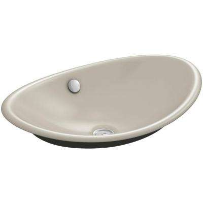 Iron Plains Cast Iron Vessel Sink in Sandbar with Iron Black Painted Underside with Overflow Drain