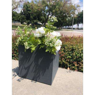 Medium 11.8 in. x 11.8 in. x 11.8 in. Granite Lightweight Concrete Modern Square Planter