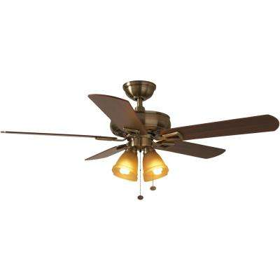 Lyndhurst 52 in. LED Antique Brass Ceiling Fan with Light Kit