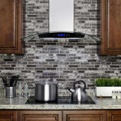 36 in. Convertible Wall Mount Range Hood in Stainless Steel with Tempered Glass, Touch Control and Carbon Filters