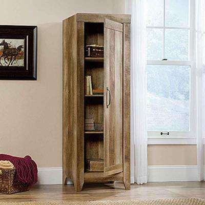 Adept Collection Particle Board Narrow Storage Cabinet in Craftsman Oak