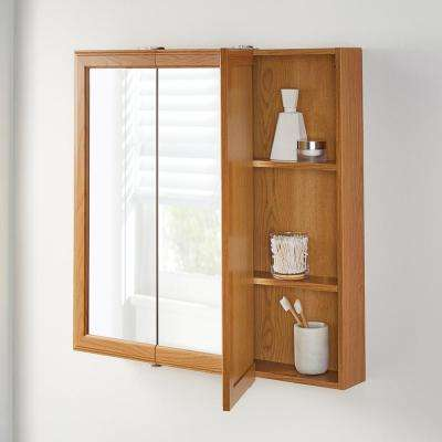 30-1/4 in. W x 29 in. H Fog Free Framed Surface-Mount Tri-View Bathroom Medicine Cabinet in Oak