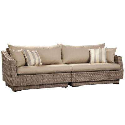 Cannes 2-Piece Patio Sofa with Slate Grey Cushions