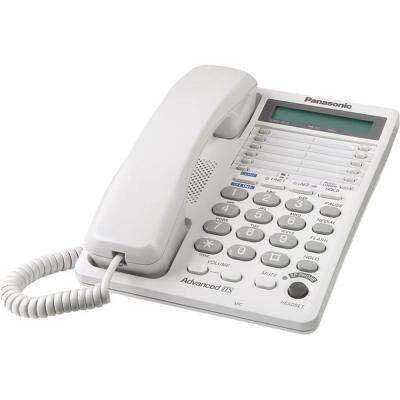 2-Line Corded Feature Phone with LCD - White