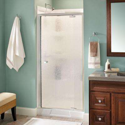 Silverton 36 in. x 66 in. Semi-Frameless Pivot Shower Door in Chrome with Rain Glass