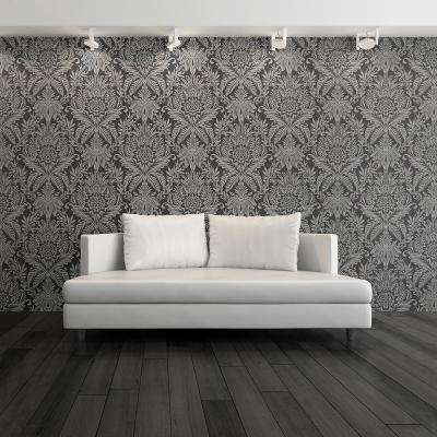 56.4 sq. ft. Signature Charcoal Damask Wallpaper