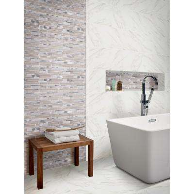 White Wave Interlocking 12 in. x 12 in. x 4 mm Glass/Stone/Metal Mesh-Mounted Mosaic Tile