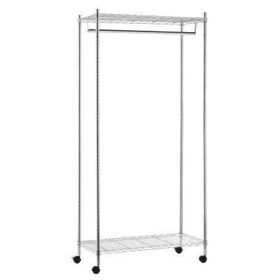 Deluxe Commercial Urban Steel Rolling Garment Rack in Chrome