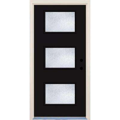 36 in. x 80 in. Inkwell 3 Lite Rain Glass Painted Fiberglass Prehung Front Door with Brickmould
