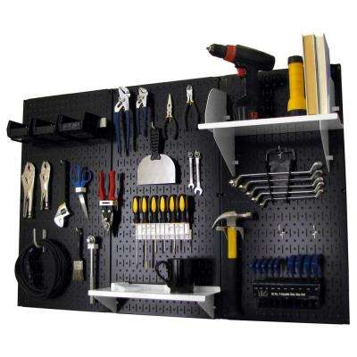 32 in. x 48 in. Metal Pegboard Standard Tool Storage Kit with Black Pegboard and White Peg Accessories