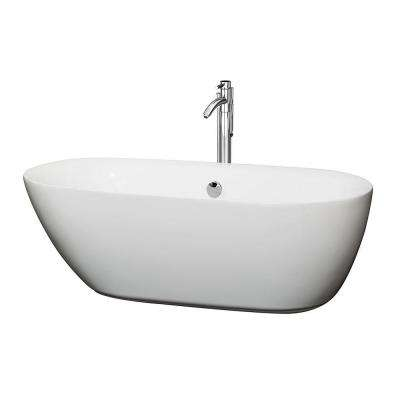 Melissa 5.42 ft. Center Drain Soaking Tub in White with Floor Mounted Faucet in Brushed Nickel