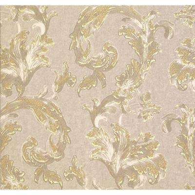 74.26 sq. ft. Romeo Taupe Leafy Scroll Wallpaper