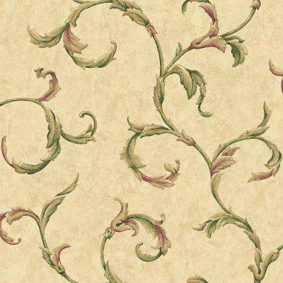 56 sq. ft. Yellow Majestic Scroll Wallpaper