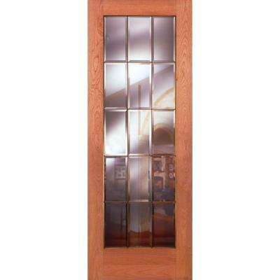 15 Lite Clear Bevel Brass Woodgrain Unfinished Cherry Interior Door Slab