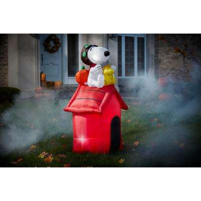 4.5 ft. Pre Lit Inflatable Snoopy as Flying Ace on Dog House-Peanuts Air-Blown