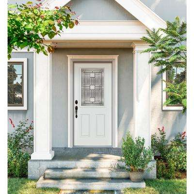 34 in. x 80 in. 1/2 Lite Cordova White Painted Steel Prehung Right-Hand Inswing Front Door w/Brickmould