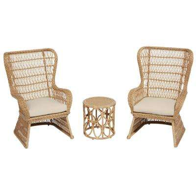 Coco Breeze 3-Piece Brown Wicker Outdoor Seating Set with Beige Cushions