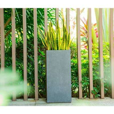 28 in. Tall Charcoal Lightweight Concrete Rectangle Modern Outdoor Planter