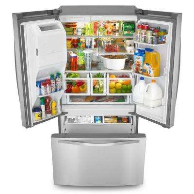 36 in. W 26.8 cu. ft. French Door Refrigerator in Monochromatic Stainless Steel