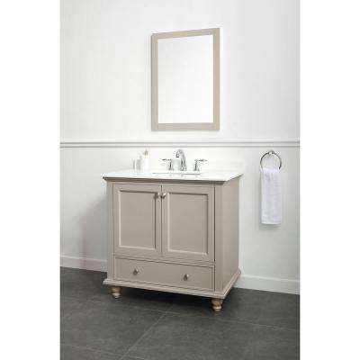 Orillia 36 in. W x 22 in. D Vanity in Greige with Marble Vanity Top in White with White Sink