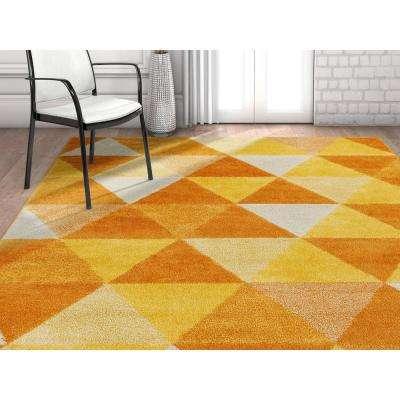 Mystic Alvin Orange 7 ft. 10 in. x 9 ft. 10 in. Modern Geometric Triangles Area Rug