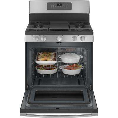 30 in. 5.0 cu. ft. Gas Range with Self-Cleaning Convection Oven and Air Fry in Stainless Steel