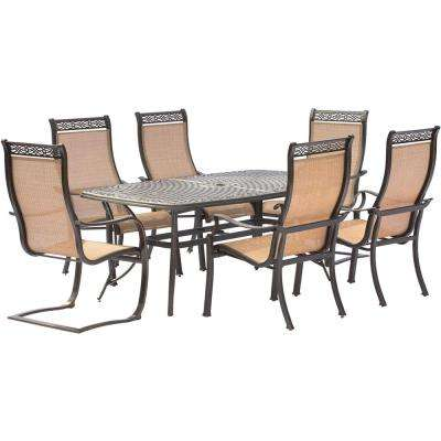 Manor 7-Piece Aluminum Rectangular Outdoor Dining Set with 2 Spring Sling Chairs and Cast-Top Table
