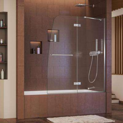 Aqua Ultra 48 in. x 58 in. Semi-Framed Pivot Tub/Shower Door in Chrome with Handle