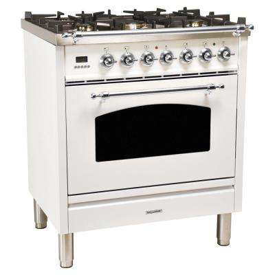 30 in. 3.0 cu. ft. Single Oven Dual Fuel Range with True Convection, 5 Burners, LP Gas, Chrome Trim in White