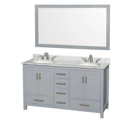 Sheffield 60 in. W x 22 in. D Vanity in Gray with Marble Vanity Top in Carrara White with White Basins and 58 in. Mirror
