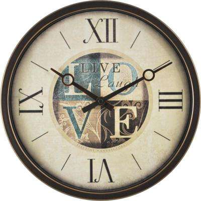 12 in. Round Live, Love, Laugh Wall Clock
