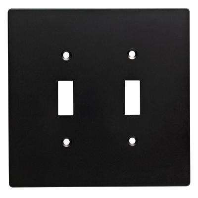 Subway Tile Double Toggle Switch Wall Plate Flat, Black