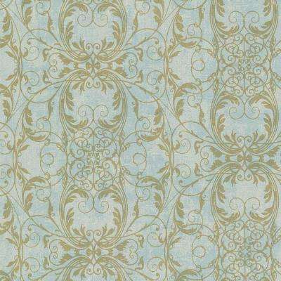 Tianna Turquoise Ironwork Scroll Wallpaper