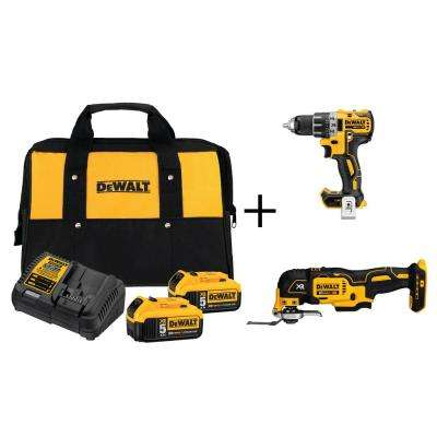 20-Volt MAX Lithium-Ion 5.0Ah Starter Kit with Bonus Bare Brushless Compact Drill and 3/8 in. Impact Wrench