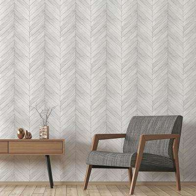Grey and White Faux Chevron Wood Wallpaper