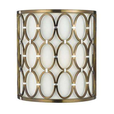 Cosmo 1-Light Satin Brass Sconce with Cream Shade