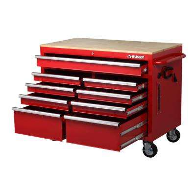 46 in. W x 24.5 in. D 9-Drawer Tool Chest Mobile Workbench with Solid Wood Top in Red