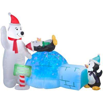 Holiday 6 ft. H x 8 ft. W Animated Inflatable Polar Bear and Penguins Kaleidoscope Igloo