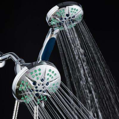 Hotel Spa Antimicrobial 48-Spray 6 in. High Pressure 3-Way Dual Rain Shower Head & Handheld Shower Head Combo in Chrome