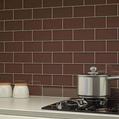 Classic Brown 3 in. x 6 in. x 8 mm Glass Subway Tile (5.5 sq. ft./case)