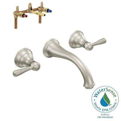 Kingsley Wall Mount 2-Handle Low-Arc Bathroom Faucet Trim Kit with Valve in Brushed Nickel