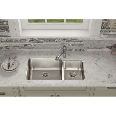 Lustertone Undermount Stainless Steel 35 in. 60/40 Double Bowl Kitchen Sink