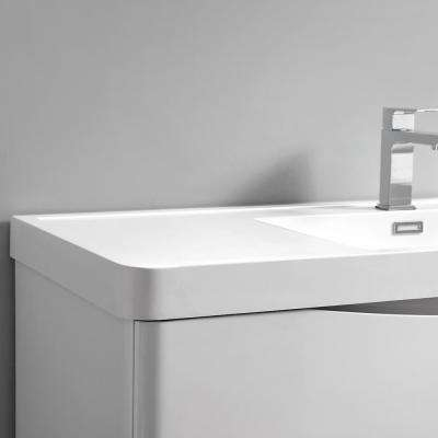 Tuscany 24 in. Modern Wall Hung Bath Vanity in Glossy White w/ Vanity Top in White w/ White Basin and Medicine Cabinet