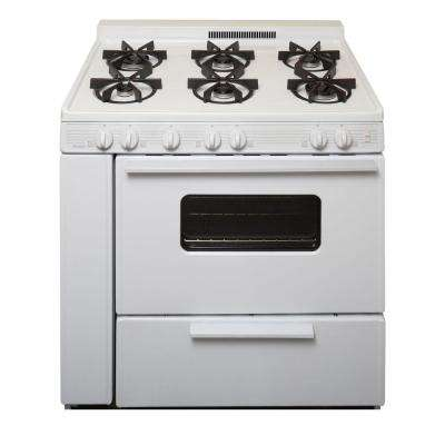 36 in. 3.91 cu. ft. Battery Spark Ignition Gas Range with Sealed Burners in White