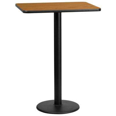24'' x 30'' Rectangular Natural Laminate Table Top with 18'' Round Bar Height Table Base
