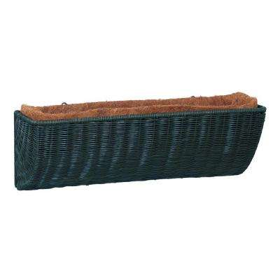 36 in. Hunter Green Resin Wicker Wall Basket